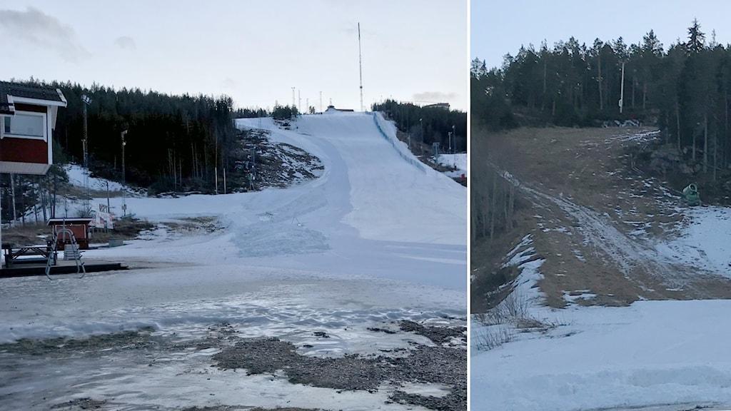 Bildmontage på skidbackarna på Södra Berget i Sundsvall.