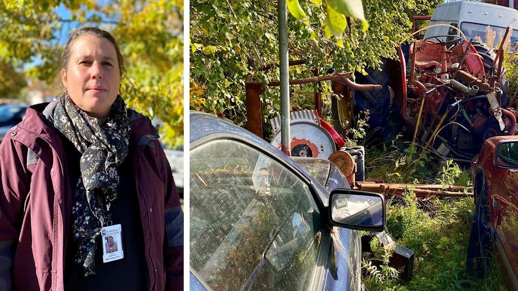 Fotomontage. Till vänster: Sollefteås miljö- och byggchef Maria Söderlund. Till höger: Bild på gamla bilar, en traktor, husvagn och småskrot vid en fastighet. Runt omkring ser man höstens gul-gröna färger på lövträd och skog. Foto: Tiffany Lind/Sveriges Radio