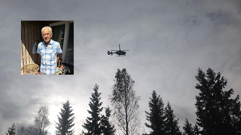 En infälld bild på den 80-årige demente man som är försvunnen i en större bild som visar en helikopter som flyger över några trätoppar. Foto: Privat/Sveriges Radio
