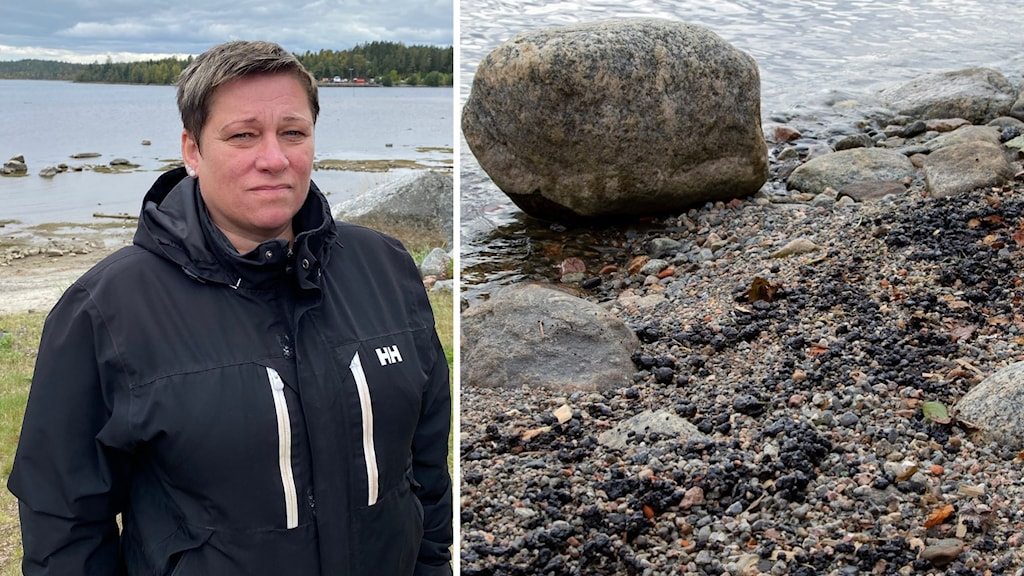 På vänstra bilden en kvinna i mörk jacka framför en liten strand, på högra bilden olja som har läckt ut på en stenstrand.