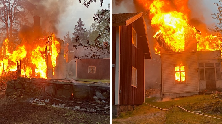 Två olika bilder fotade från olika håll på ett hus som står i lågor.