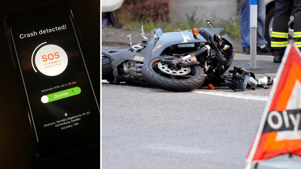 """Bildkollage. Till vänster: En självlarmande app vid mc-olyckor med texten """"SOS automatic SOS-call in: 24 sec"""". Till höger: En motorcykel ligger kraschad på en väg efter en olycka."""