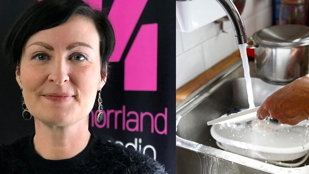 Bildkollage: Till vänster psykolog Sandra Lindström som föreläser om stress kopplat till jämställdhet och en bild på en kvinna som diskar för hand. Foto: Sveriges Radio och Fredrik Sandberg/TT