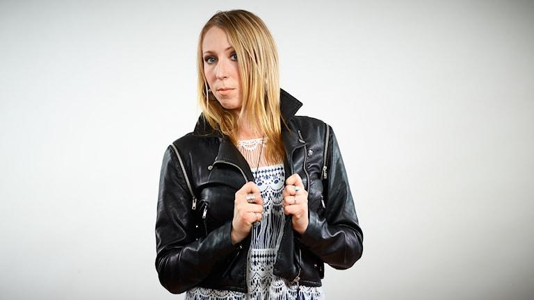 Louise Åslund, lokal finalist i Svensktoppen nästa 2016, P4 Västernorrland. Foto: Kristofer Lönnå/Sveriges Radio
