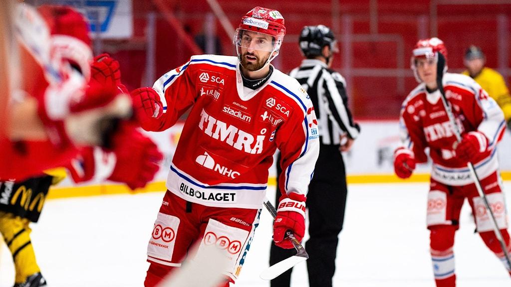 Timrå IK jublar efter ett mål i Hockeyallsvenskan 2020/2021.