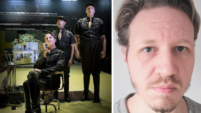 Bildkollage med del av ensemblen i Krilon och dramatikern Joakim Sten.
