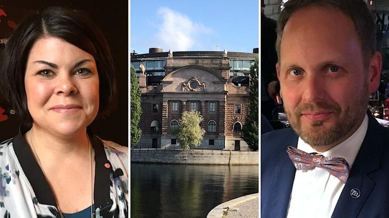 Bildkollage: Porträtt på Malin Larsson (S) och Jörgen Berglund (M) med riksdagshuset i mitten. Foto: Sveriges Radio