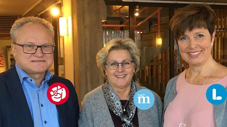 Region Västernorrlands nya majoritet. Från vänster: Glenn Nordlund (S), Lena Asplund (M) och Ingeborg Wiksten (L). Foto: Ulla Öhman/Sveriges Radio