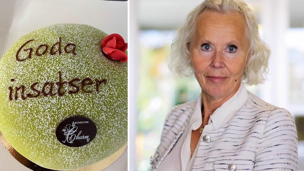 """En bild på en tårta som det står """"Goda insatser"""" på och en bild på sjukhusdirektören Lena Carlsson."""