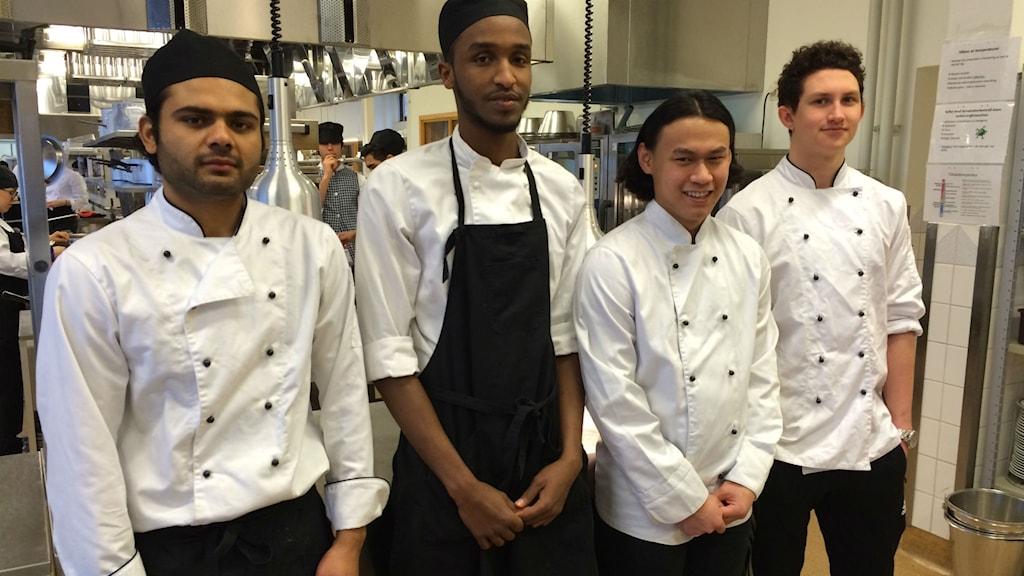 Ali Mehbob, Zakaria Khalif, Taradon Noimee och Viktor Westerlind kan alla tänka sig att tävla i matlagning.
