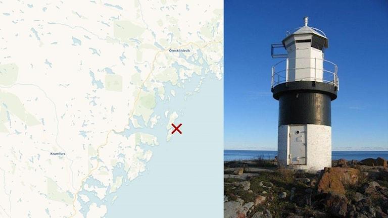 Bildkollage. Till vänster: Kartbild där skäret Flasan är utmarkerat med ett rött kryss. Till höger en bild på fyrtornet på Flasan som är målat i vitt och svart. Karta: Sveriges Radio/Carto Foto: Sjöfartsverket