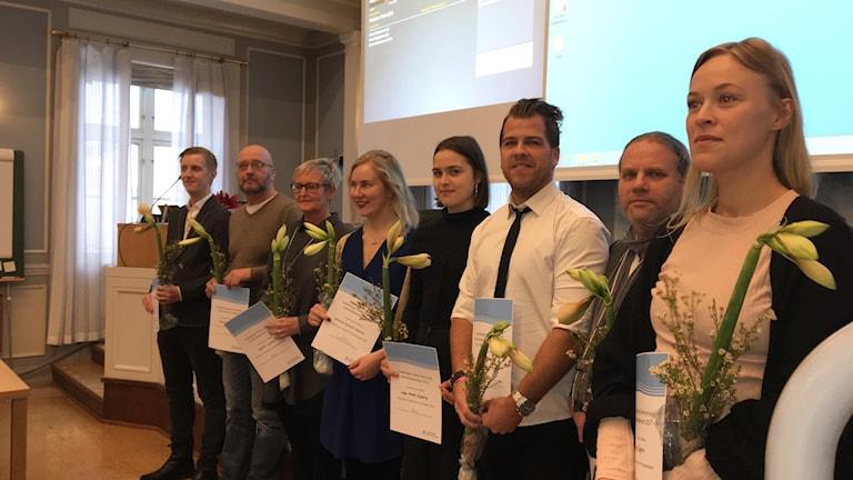 Kulturstipendiaterna hyllades på Regionfullmäktige idag. Foto: Ulla Öhman/Sveriges Radio