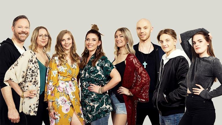Bildkollage med alla P4 Västernorrlands lokala finalister i P4 Nästa 2018. Foto: Olle Melkerhed/Sveriges Radio