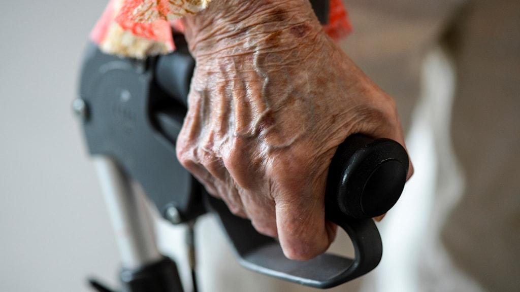 Närbild på en äldre kvinnas hand som håller i ett rullatorhandtag. Foto: Anders Wiklund/TT