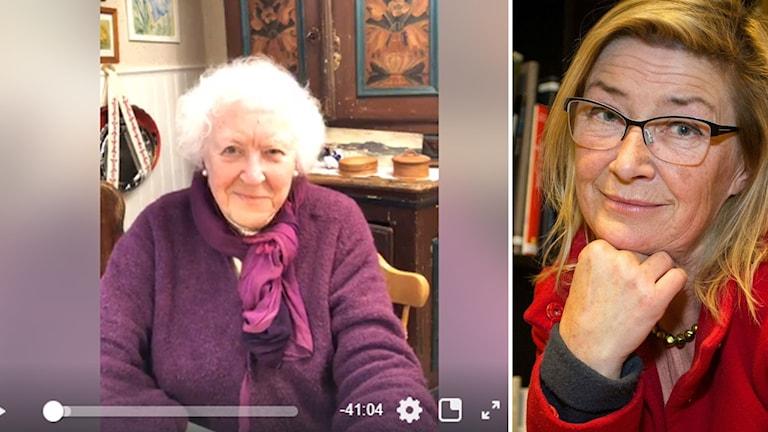 Äldre kvinna från live-sändning på facebook, hon har lila kofta. Yngre kvinna med röd kofta med böcker bakom.