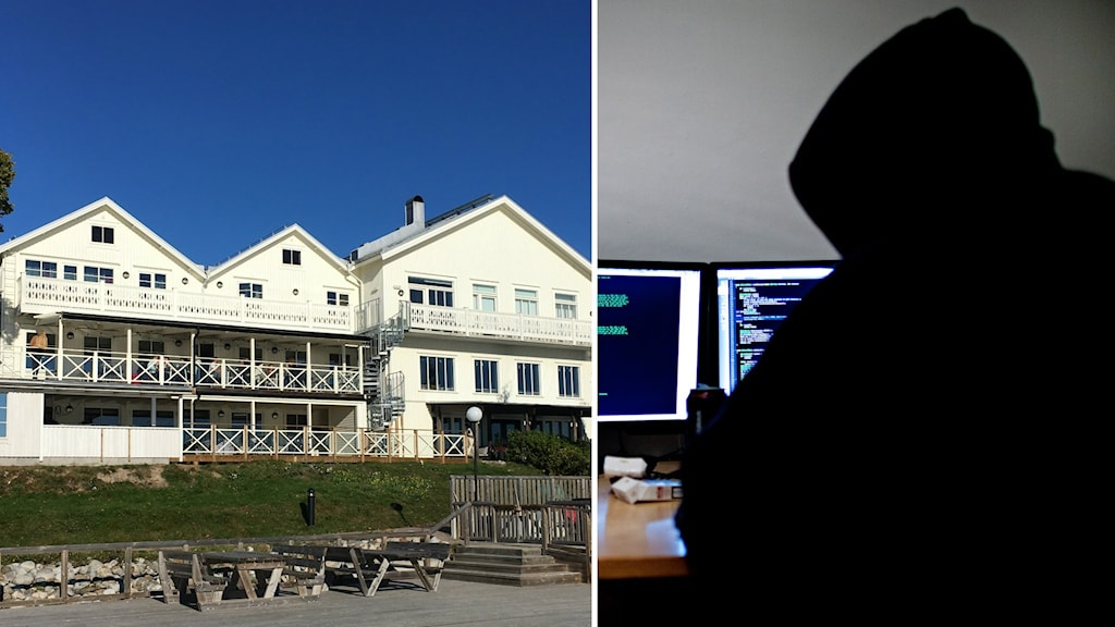 Delad bild på Ulvö Hotell och en genrebild på en Hacker.