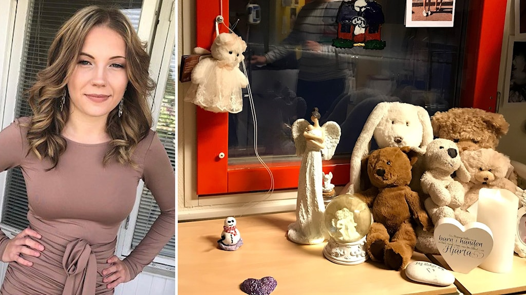 Bildkollage. Till vänster: Porträtt på Jasmine när hon slutade nian. Till höger: Många hälsningar till Jasmine i sjukrummet. Flera nallar, änglar och hjärtan står vid ett fönster.