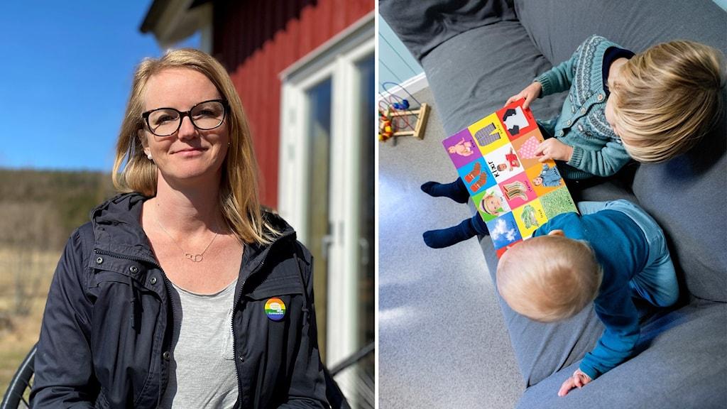 Delad bild. En på Ida Stafrin och en annan med två förskolebarn.