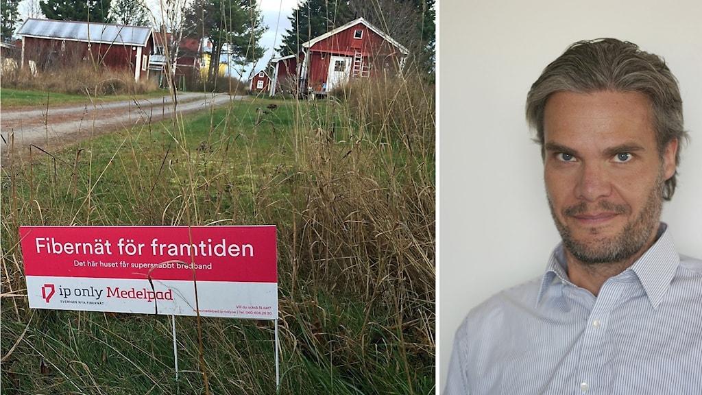En fiberskylt och Niclas Karnhill, presschef på IP Only.
