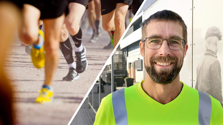 Kollage, till vänster ben på löpare, andra halvan av bilden man med skägg och glasögon stående på gatan.