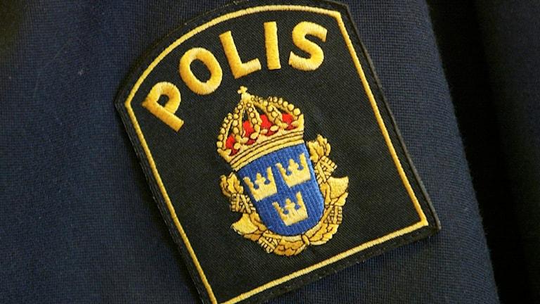 Närbild på ett polisemblem på en tröja. Foto: Henrik Montgomery/TT