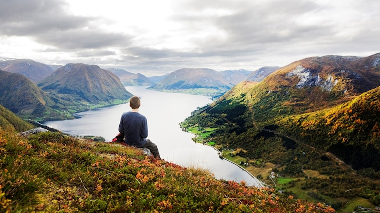 Fjällvandrare blickar ut över en fjärd från fjällsidan. Foto: Kyrre Lien/Scanpix Norge/TT
