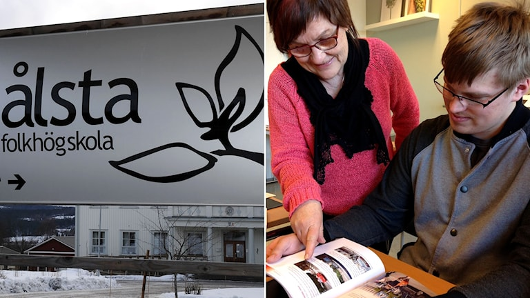 Skylt på Ålsta folkhögskola och trafiklärare Else-Marie Vikström elev Mikael Kjell Lipasti på Mellansels Folkhögskola. Foto: Sveriges Radio