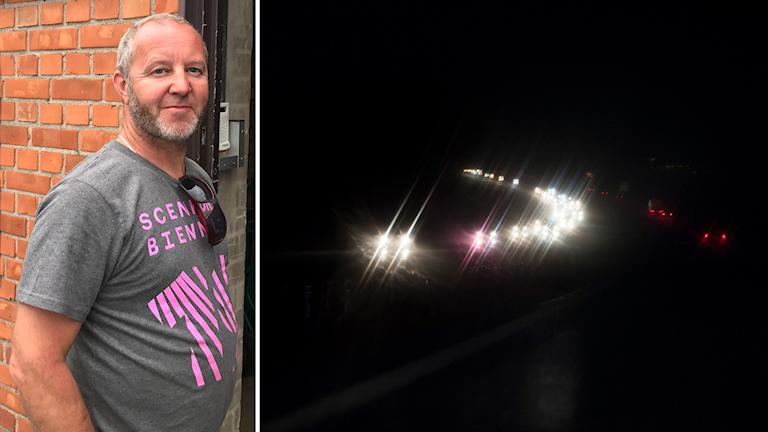 Bildkollage. Till vänster: Per Johansson mötte rånaren från E4:an. Till höger: Bilar på motorväg en mörk natt. Foto: Anton Kårén/Sveriges Radio och Lennart Månsson/Bildbyrån