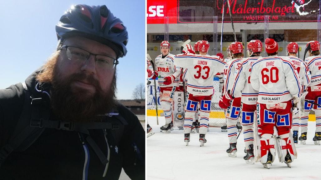 Jonas Wollberg på sin cykel, Timråspelare firar efter avancemanget till den hockeyallsvenska finalen.