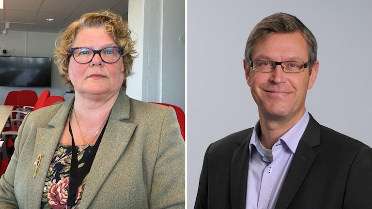 Bildkollage med tidigare regiondirektör Inger Bergström och regionstyrelsens ordförande Erik Lövgren (S). Foto: Sveriges Radio/ Örjan Leek