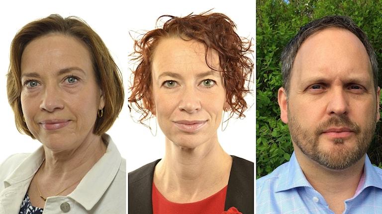 Bildkollage på debattdeltagarna: Kristina Nilsson (S), Christina Höj Larsen (V) och Jörgen Berglund (M). Foto: Riksdagen och Sveriges Radio