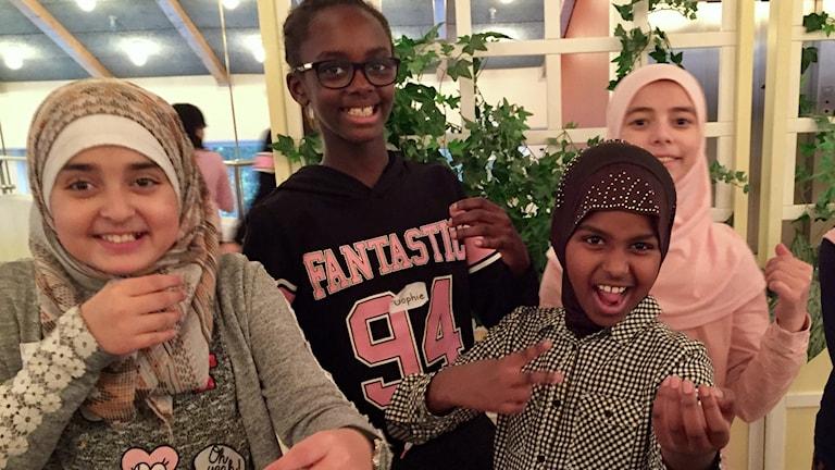 elham mirzaei, sophie nkunzi mana, lensa tili ahmed, khawla nancy assaf. Foto: Karin Lönnå/Sveriges Radio