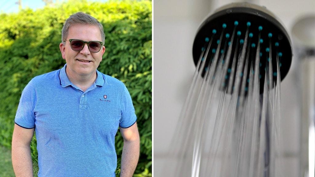 Delad bild med Lars Westberg på Miva och duschvatten.
