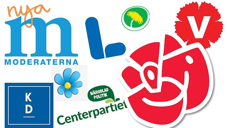 Ett kollage av de olika partiernas partisymboler. Från vänster: Nya moderaterna, Kristdemokraterna, Sverigedemokraterna, Liberalerna, Centerpartiet, Miljöpartiet, Socialdemokraterna och Vänsterpartiet. Illustration: Sveriges Radio