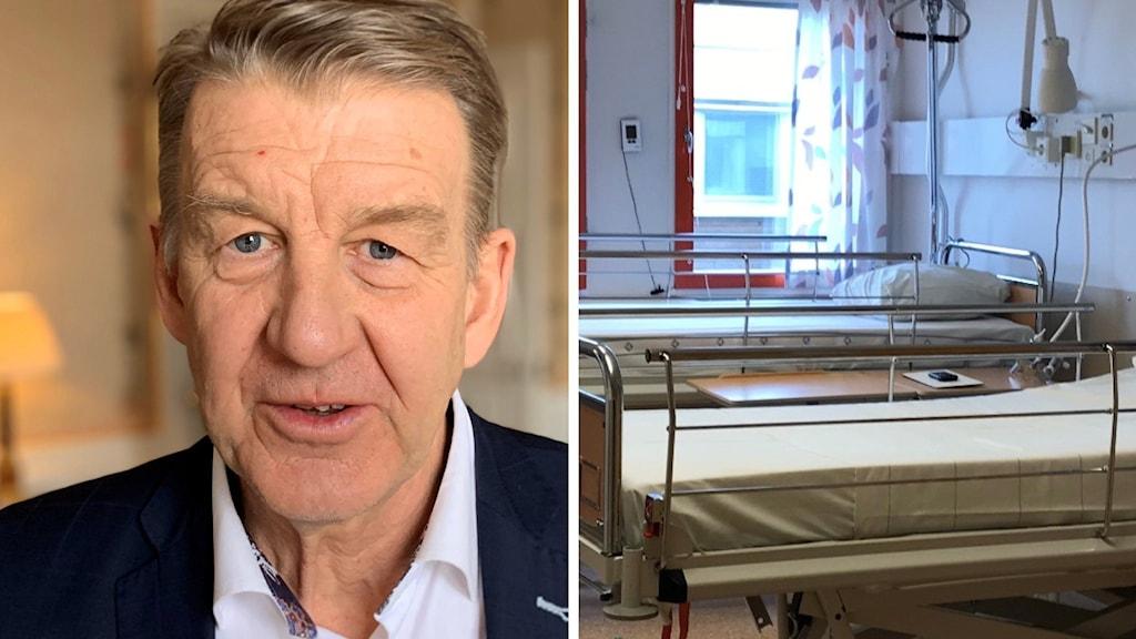Anders Sylvan, tf regiondirektör och en bild av en sjukhussäng.
