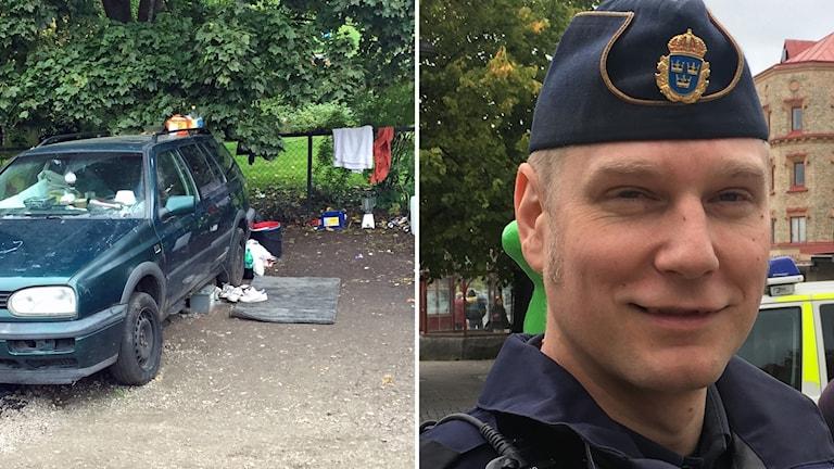 Bildkollage: Bil som migranter bor i på parkeringen på Villagatan och närbild lokalpolisområdeschefen i Medelpad Josef Wiklund. Foto: Sveriges Radio
