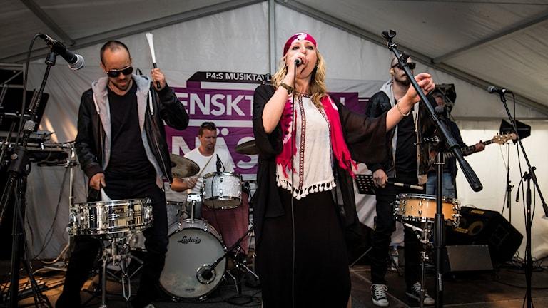 Louise Åslund, med låt 4 vid genrepet inför den lokala finalen i Kramfors.