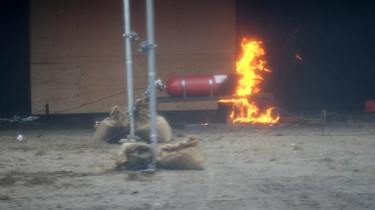 metangastub som det eldas under