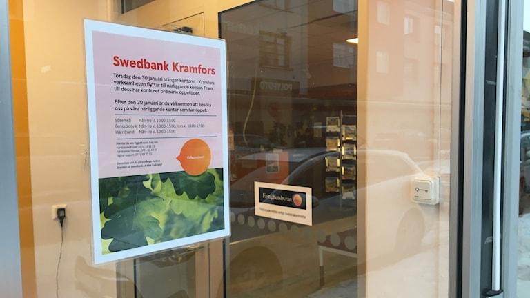 Skylt utanför Swedbanks kontor Kramfors.