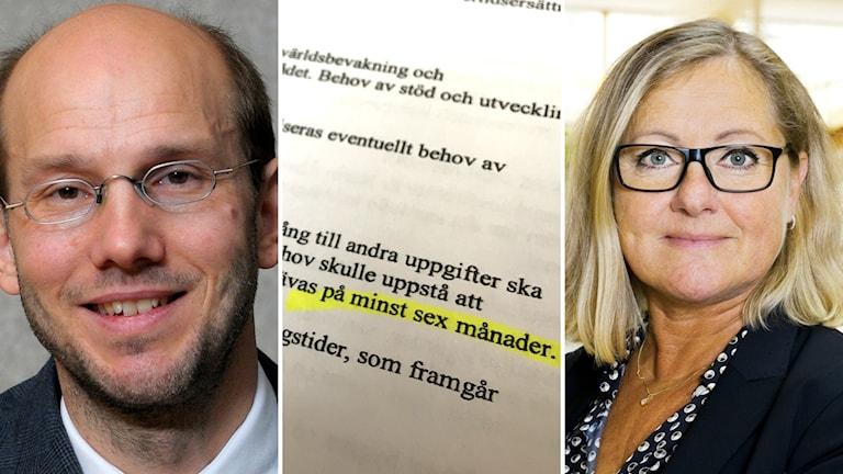 Bildkollage med till vänster Hans Wiklund, Regiondirektör, ett foto på det aktuella chefsavtalet och till höger Karin Åhström som nu inte blir personaldirektör vid Region Västernorrland. Foto: Örjan Leek, Sveriges Radio och Julia Sjöberg/Göteborgs stad