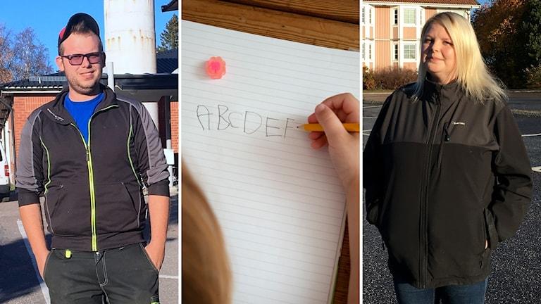 Bildkollage. Till vänster: Micke Svensson. Mitten: Ett barn skriver alfabetet i ett block. Till höger: Paulina Gidlöf. Foto: Ulla Öhman/Sveriges Radio och Jessica Gow/TT