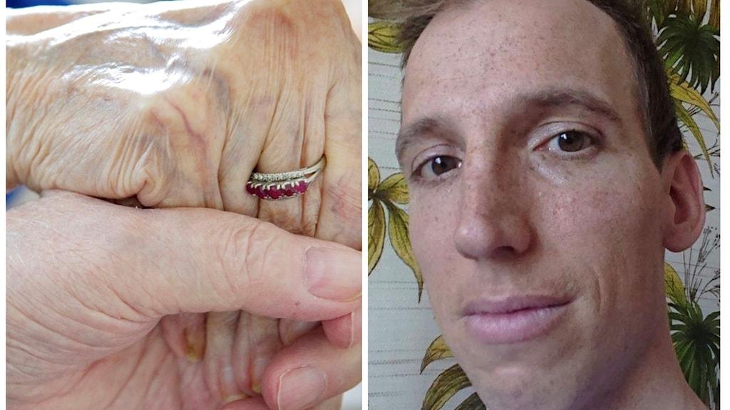 Två händer hand i hand och läkaren Andreas Koro. Foto