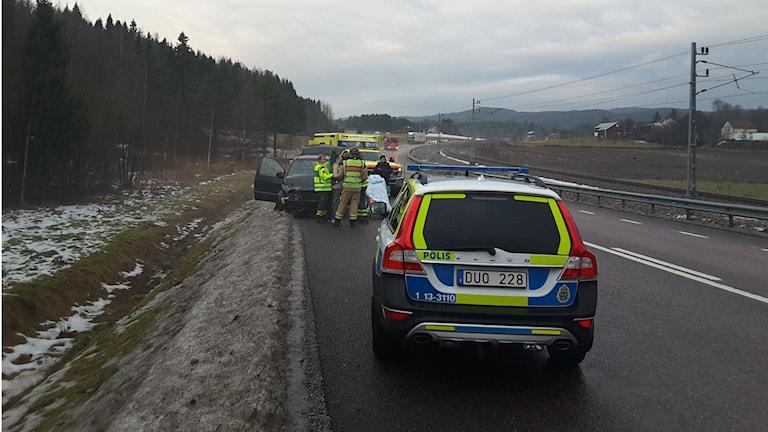 Räddningsfordon på olycksplatsen