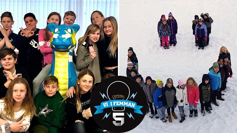 Bildkollage: Uslands skola 5B och Kristna skolan Oasen klass 5.