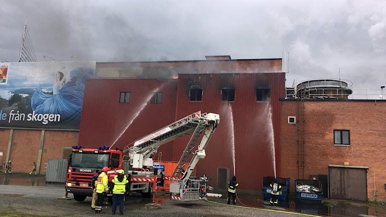 Räddningstjänsten försöker släcka ovanifrån vid branden i Domsjö fabriker.