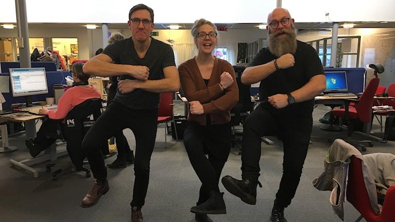 P4 Västernorrlands morgongäng dansar skibidi. Foto: Anna Morveto/Sveriges Radio