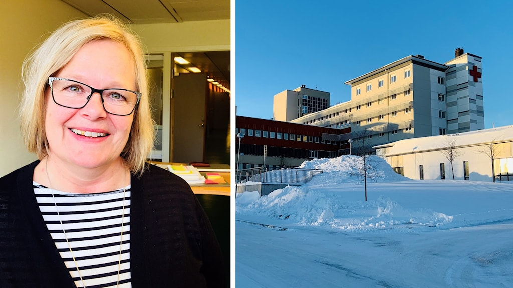 Delad bild. Kvinna till vänster och sjukhusbyggnad till höger. Vinterbild.