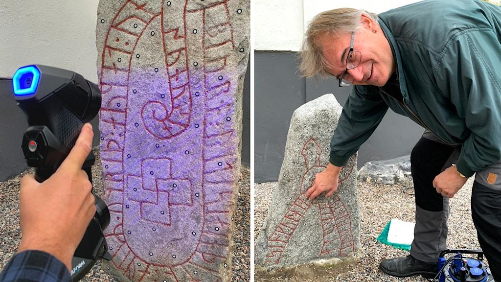 Till vänster syns en apparat som lyser med lila ljus över en runsten. Till höger böjer sig Magnus Källström ner och pekar på runinskriptionen.