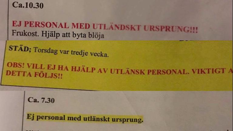 Några av dokumenten från hemtjänsten i Sundsvall, med uppmaningar mot utländsk personal.