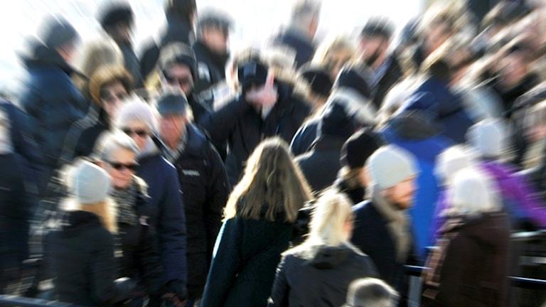 Folksamling i oskärpa. Foto: Hasse Holmberg/TT